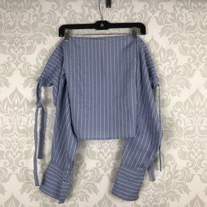 Lovers + Friends Blue Striped Off The Shoulder Top